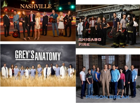 Nashville, Chicago Fire, Grey's Anatomy, Prison Break